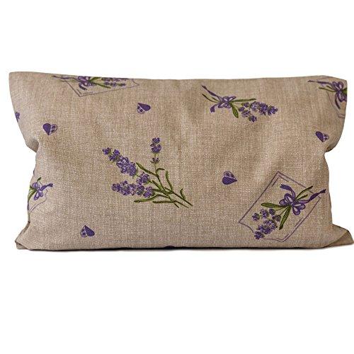 Lavendelkissen 30x20cm, Sorgenfrei + Bio Inlett natur | Bio-Lavendelblüten | Duftkissen Kräuterkissen